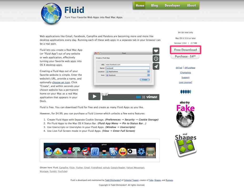 WebサービスをMacアプリとして使うことができる『Fluid』が地味だけど便利すぎる