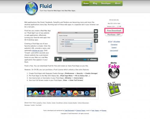 fluidのダウンロードページ