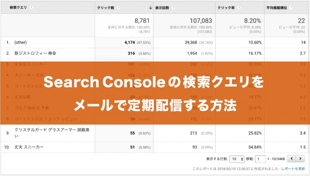 Googleアナリティクスを使ってSearch Consoleの検索クエリを定期的にメール配信する方法